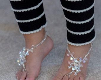 Baby Barefoot Sandal-Infant Barefoot Sandal-Beach Barefoot Sandal-Wedding Barefoot Sandal-Bridal Barefoot Sandal-The Eva HF106