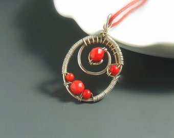 Red coral necklace, sterling silver plated handmade natural jewelry, gift for women