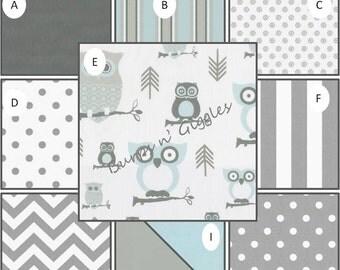 Baby Boy Crib Bedding Set..Crib Bumper, Crib Skirt Fitted Sheet Blanket Blue Gray Owls