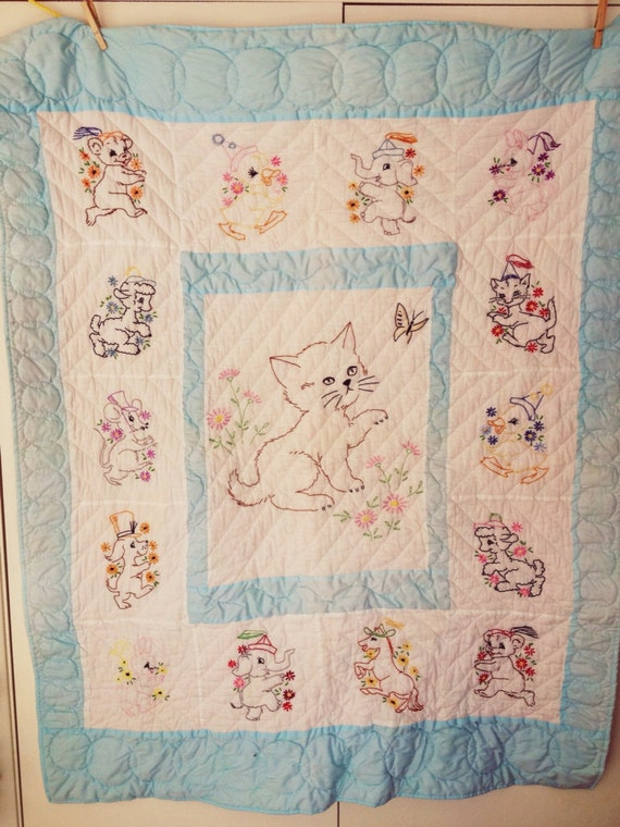 Vintage Baby Quilt Embroidered Baby Quilt Cat Quilt