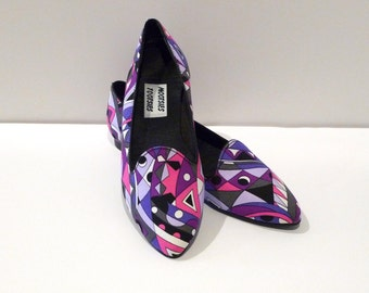 Psychedelic Flats Vintage Mootsies Tootsies Mod Cloth Slippers Slip On Like New 1990s does 1960s 1970s Style Purple Pointy Toes 8.5