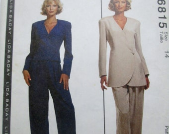 McCalls 6815 Womens Lined Jacket and Pants Sewing Pattern Bust 36