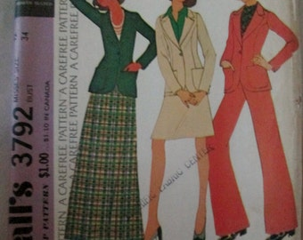 McCall's 3792 Misses' 70s Below Hip Blazer, Long or Short Skirt and Wide Leg Pants Sewing Pattern Size 12 Bust 34