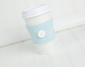 Resusable Fabric Coffee Sleeve Cozy Light Blue Polka Dot Print Unisex Reusable Cup Cover