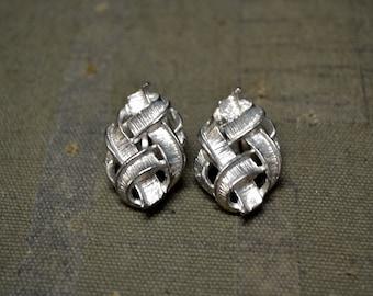 1960s Silver Knot Clip Earrings
