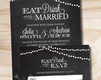 RUSTIC CHALKBOARD Eat Drink and Be Married String of Lights Wedding Invitation Response Card Invitation Suite