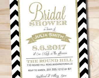 Black & Gold Glitter Chevron Bridal Shower Invitation - Printable digital file or printed invitations