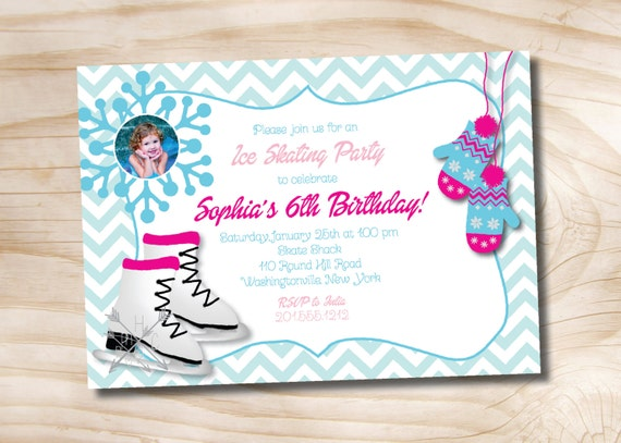 Ice skating mitten winter wonderland birthday party invitation photo il570xn filmwisefo Image collections