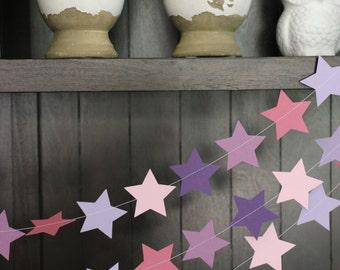 Star Garland, Paper Garland, Birthday Garland, Wedding Garland, Shower Garland: Purple Hues