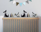 Black Fox Decal, Gray Nursery, Nursery Wall Decal, Woodland Stickers. Foxes Children Wall Decal