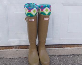 Fleece Rain Boot Liner, Hunter HEARTS and DIAMONDS, Blue Sock, Wellington, Outdoor, Rustic, Rainy Weather, Gift Under 25, Sm/Med 6-8