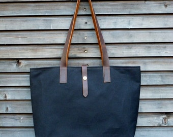 Waxed canvas tote bag / carry all bag with  leather handles