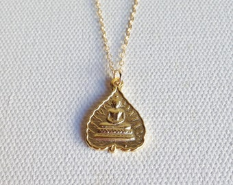 Gold Buddha Necklace, Buddha Pendant, Gold Buddha Charm Necklace, Buddha Jewelry, Meditating Buddha, Yoga & Spirituality Jewelry