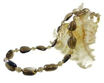 Smoky Quartz Necklace, Gold Filled,  Brown Stone Necklace, Semi Precious Stones, Simple Elegance
