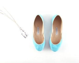 Tiffany Blue Ballet Flats | Bridal Ballerina Flats | Wedding Shoes | Soft Nubuck Leather Ballet Flats...Made to Order