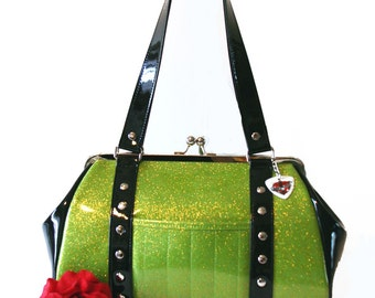 Lime Green Sparkle Purse Black Gloss Trim Vinyl Bag Rockabilly Psychobilly Handbag - MADE TO ORDER