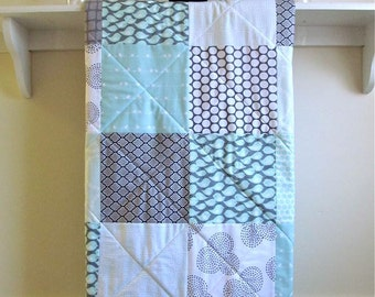 Modern Baby Quilt, Gender Neutral Crib Quilt, Aqua, Grey, and White, Toddler Quilt, Handmade, Fern Leslie Baby, Minky Back - Flock of Birds