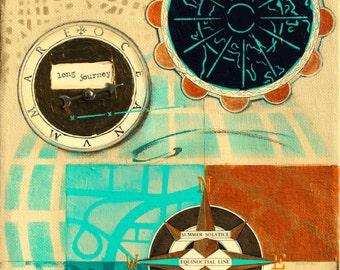 Long Journey, mixed-media/acrylic on canvas, map art