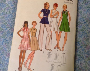 "Vintage Butterick Flared Princess Seam Dress & Pants Sewing Pattern 34"" Bust"