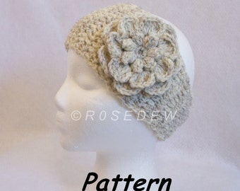 Instant Download to PDF Crochet PATTERN: In-Between Headband with Popcorn Center Flower