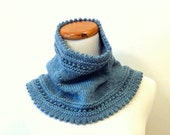 Soft Wool Eyelet Cowl in Heathered Teal - Ready to Ship