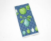 Vintage Towel - Limes, Figs, Pears Apples, Grapes, Berries in Turquoise, Navy Blue, Jadite Teal, & Emerald Green - Luther Travis Linen Towel
