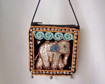 Vintage Elephant Purse Beaded Sequin Purse Small Change Bag Sequin Elephant Zippered Pouch Vintage 1960s