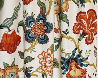 Celerie Kemble Hothouse Flowers in Spark- Custom Pleated Drapes (comes in 4 colors)
