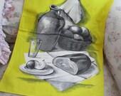 Vintage Printed Souvenir Kitchen Tea Towel - VONY FRANCE Yellow Charcoal Food Cooking Q168