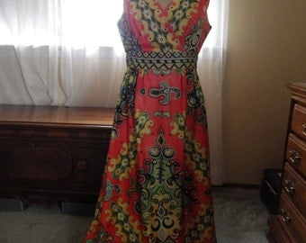 1970s Psychedelic Maxi Dress size XL tall