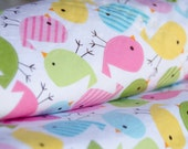 Minky Blanket Birdies Robert Kaufman Urban Zoologie Pink Blue Yellow - Name Included - Spring Birdies