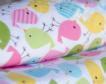 Minky Blanket Birdies Robert Kaufman Urban Zoologie Pink Blue Yellow - Name Included - Spring Birdies