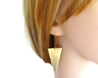 Geometric Triangle Earrings in Raw Brass