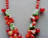 Coral Necklace-Jade-Turquoise Christmas Necklace-Coral Necklace-Red and Green Upcycled-Holly Berries