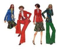 """Women's Suit Jacket Blazer Bias Skirt Wide Leg Trousers Pants Pantsuit Pant Suit Sewing Pattern 70s Size16 Bust 38"""" (97 cm) Style 1238 S"""