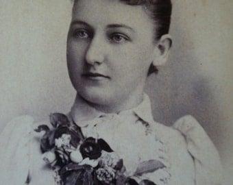 Antique Photo Sepia Woman's Portrait Black and White Edwardian Photo Victorian Woman Paper Ephemera Antique Dress Antique Photo 105