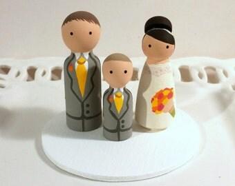 Cake Cuties Custom Wedding Cake Toppers plus one Kid Cutie