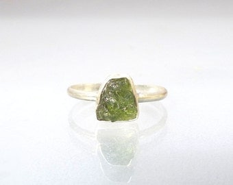 Moldavite Ring - Natural Raw Crystal Rough in Recycled Silver Stack Ring Moldavite Stackable Ring
