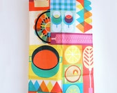 Tea Towel Bright Food Illustration Modern Geometric Design