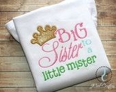 Big Sister Shirt or Dress - Big Sister Gift, Big Sister Dress, Big Sister Announcement, Sibling Outfits, Big Sister Outfit, Little Mister