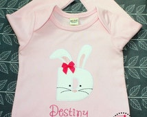 Personalized Bunny Shirt - Easter Baby, Bunny Dress, Initial Shirt, Easter Sibling Outfits, Monogram Shirt, Easter Bunny Shirt, Bunny Baby