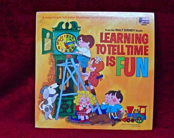 WALT DISNEY'S - Learning to Tell Time is Fun - 1969 Vintage Vinyl Gatefold Record Album...w/Full-color Illustrated Booklet
