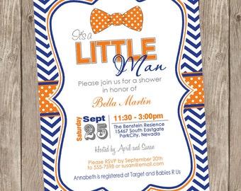 Chevron Bowtie Baby Shower Invitation, bowtie invitation, little man baby shower invitation, little man, bowtie, blue and orange, lm5