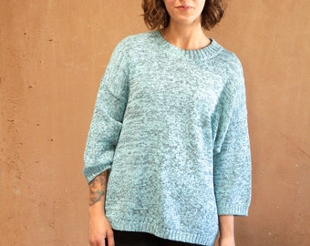 GRUNGE teal and black NIRVANA speckled 90s club kid sweater