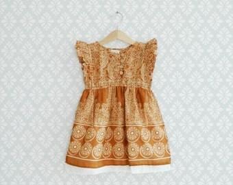 Baby Girl Dress, Golden Brown Dress for girls ,Toddler Batik Style Dress, Golden Dress