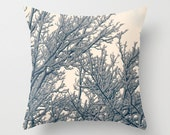 Pillow Cover, Snowy Branchs, Winter Pillow Cover, Snow Home Decor, Photo Pillow