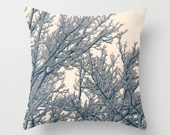 Pillow Cover, Snowy Branchs, Winter Pillow Cover, Snow Home Decor, Photo Pillow