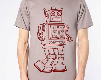 mens vintage robot t shirt- Organic American Apparel cinder- available in S,M,L,XL,XXL- Wordwide Shipping