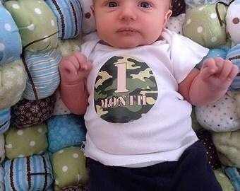 Camo Monthly Milestone Sticker Month Age Sticker Baby Boy Sticker Onepiece Shower Gift Photo Prop
