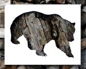 SALE : Grizzly Bear Silhouette In Bark - Woodland Animal Wall Art, Lodge, Nursery, Home Nature Decor - 11x14 Archival Print